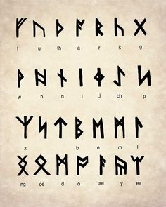 Alphabet Code, Alphabet Wall Art, Alphabet Symbols, Alphabet Print, Nordic Alphabet, Celtic Alphabet, Magic Symbols, Symbols And Meanings, Viking Symbols