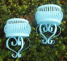 Vintage Shabby Chic Distressed Wrought Iron Wall Planters