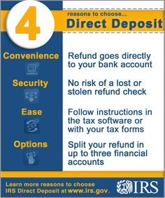 Get your refund faster by telling the #IRS to direct deposit your tax refund to one, two, or even three accounts. #taxes #refund