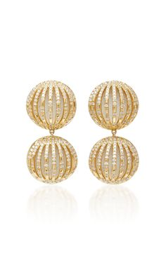 18K Gold, Diamond and Enamel Earrings by SUSAN FOSTER Now Available on Moda Operandi