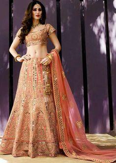 Buy lehenga choli online from among a variety of latest designer lehenga choli. Grab this net pink a line lehenga choli. Lehenga Choli Designs, Lehenga Choli Online, Bridal Lehenga Choli, Pink Lehenga, Ghagra Choli, Bollywood Lehenga, Bollywood Fashion, Indian Dresses, Indian Outfits