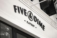 Logo design and exterior signage by Bravo Company for Singapore cafe and restaurant Five & Dime