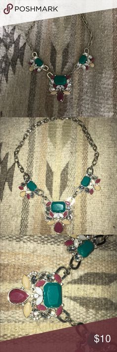 Loft Statement Necklace All stones and closures are in tact. Hardly worn! Turquoise, Purple, Cream, & Crystal colored stones LOFT Jewelry Necklaces