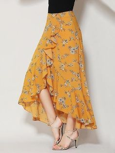 Yellow Floral Print Ruffle Asymmetric Hem Wrap Tulip Skirt Woven fabric Mid-rise waist All over floral print Wrap front design Ruffle trim Hand wash SEE DETAILS. Simple Dresses, Casual Dresses, Fashion Dresses, Fashion Clothes, Skirt Outfits, Dress Skirt, Ruffle Skirt, Ruffle Trim, Chiffon Skirt