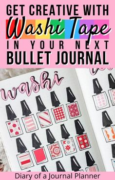 Try out one of these 40 clever and creative ways to use washi tape in your next bullet journal spread! #bulletjournal #washitape #washitapeuses #bulletjournalideas Bullet Journal Washi Tape, Bullet Journal Printables, Bullet Journal Spread, Washi Tape Uses, Washi Tape Crafts, Bujo, Clever, Creative