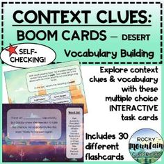 Boom Cards - Context Clues: Vocabulary Building (DESERT) Vocabulary List, Vocabulary Building, Vocabulary Words, Context Clues, Figurative Language, Inference, Reading Skills, Word Work, Task Cards