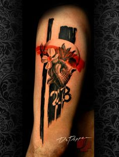 *My next black & white piece (mermaid, ship in a bottle?) would look great with one or two trash polka color stripes Wicked Tattoos, Red Tattoos, Skull Tattoos, Love Tattoos, Bodysuit Tattoos, Trash Polka Frau, Tattoo Trash, Skin Art, Arm Tattoo