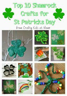 Top 10 Shamrock Crafts for Kids to celebrate St Patricks Day.