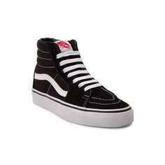 Shop for Youth Vans Sk8 Hi Skate Shoe in Black White at Journeys Kidz. Shop today for the hottest brands in mens shoes and womens shoes at JourneysKidz.com.Lace up for classic hi-top style at its finest! The durable and dependable Sk8 Hi from Vans features sturdy synthetic suede uppers, padded collar for optimal comfort, front lace closure for a secure fit, and Vans signature vulcanized rubber outsole with waffle tread for slip-resisting traction.