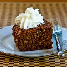 Recipe for Low-Sugar Whole Wheat and Oatmeal  Spice Cake with Fuyu Persimmons; this is a delicious but healthy treat for the holidays! [from Kalyn's Kitchen] #LowSugarBaking