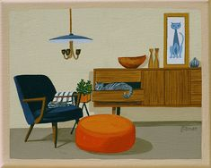 Mid Century Modern Eames Retro Limited Edition Print from Original Painting Danish Modern Cat