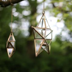 ANTIQUE BRASS GLASS STAR These stunning antique brass stars make the most…