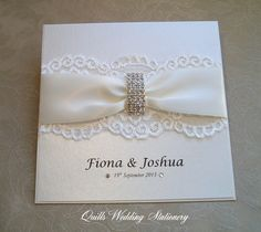 Luxury Diamante Buckle Wedding Invitation. Various Colour Options for Satin Ribbon. by QuillsWeddingFavours on Etsy www.quillsweddingstationery.co.uk https://www.facebook.com/pages/Quills-Wedding-Stationery/278003989009997