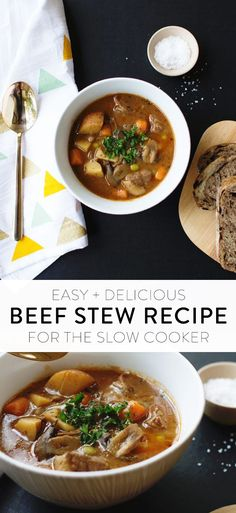 The perfect beef stew recipe for chilly fall and winter days! This easy crock pot recipe is simple to make and so full of flavor. Perfect for easy and fast weeknight dinners, family meals, meal planning, slow cooker ideas, and more.