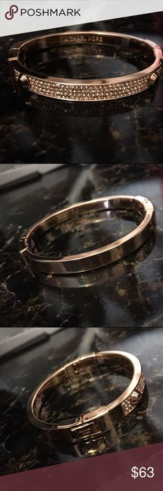 """MK Rose Gold-Tone Pavé Astor Hinge Bracelet Michael Kors Rose Gold-Tone Pavé Astor Hinge Bracelet. Stainless steel. Hinge closure. 2 1/4"""" inner diameter. Great condition. No damage. Price is set. I don't have the box anymore. Michael Kors Jewelry Bracelets"""