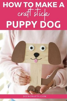 This easy kids craft for a cute craft stick dog is a perfect way to keep them busy using inexpensive craft supplies on hot summer days! This craft stick project is a great preschool craft idea that is easy to customize and a perfect dollar store craft that is easy on the budget! #CraftStickDog #CraftSticks #PopsicleSticks #KidsCrafts Craft Stick Projects, Cool Diy Projects, Craft Stick Crafts, Preschool Crafts, Summer Camp Crafts, Camping Crafts, Summer Diy, Easy Crafts For Kids, Diy For Kids