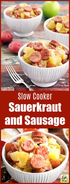 Slow Cooker Sauerkraut and Sausage with Apples and Potatoes Are you looking for a gluten free Crock-Pot recipe? This Slow Cooker Sauerkraut and Sausage with Apples and Potatoes takes only 15 minutes to prepare! Makes a great party or potluck recipe, too. Crockpot Potluck, Easy Potluck Recipes, Sausage Crockpot, Sausage Recipes, Healthy Recipes, Healthy Eats, Breakfast Crockpot, Bratwurst Recipes, Savoury Recipes