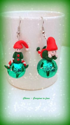 Orecchini in #fimo #handmade #polymerclay #christmas #natale