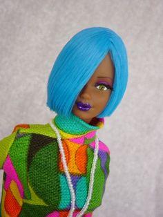Wild n' Wise: 'Steffie' mold.Full reroot in 'Blue Circus' saran hair. Wide Eyed Girls - One-Of-A-Kind (OOAK) Fashion Dolls by Dan Lee Diva Dolls, Barbie Dolls, Girl Barbie, Beautiful Black Babies, Beautiful Dolls, New Hair Colors, Cool Hair Color, Ebony Models, Mom Hairstyles