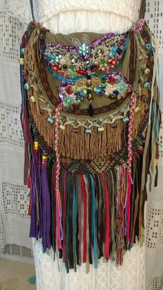 Handmade BOHO FESTIVAL Bag Leather Fringe Collage Hippie Hobo Gypsy Purse tmyers #Handmade #ShoulderBag