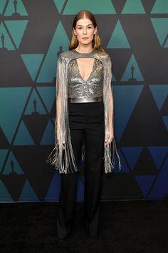 Rosamund PikeGovernors Awards, Arrivals, Los Angeles, USA – 18 Nov Givenchy same outfit as catwalk model -- HollywoodLife Catwalk Models, Coloured Girls, Dressy Pants, Celebrity Faces, Hollywood Life, Celebs, Celebrities, Nice Dresses, Awards