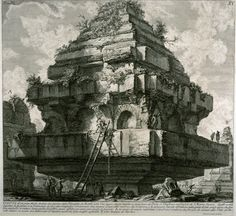 "20- Giovanni Piranesi (1720-1778) - The Tomb of the Metelli. Piranesi was one of the great draughtsman of the 18th century, and his dramatic flair with ancient topographical subjects made him an influential figure.- §G.B PIRANESI: Il se perfectionne aussi dans l'art de la perspective en copiant les projets de théâtre de Juvara et en étudiant l'ouvrage de Giuseppe Bibiena, édité en 1740, Architetture e prospettive. En 1743 il publie des planches de ""La prima parte di architetture"" à Rome."