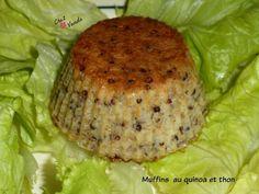 Encore une façon bien agréable pour faire manger du poisson à vos enfants !!!!! recette de base issue de journal de femmes et cuisinée à ma façon PARFAIT pour 1 JSC Total de la recette 23 SP ( pour 8 muffins) soit 3SP le muffin Muffins au quinoa et thon...