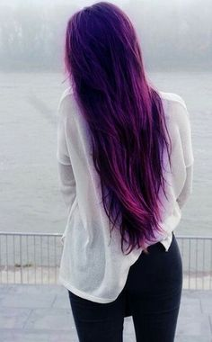 Wanna Brighten your days? Try change your hair color ! - dezdemon-hair-styles-hair-cuts Wanna Brighten your days? Try change your hair color ! Long Purple Hair, Dark Purple Hair Color, Cool Hair Color, Hair Colors, Blonde Color, Deep Purple, Colored Hair Tumblr, Human Hair Extensions, Purple Extensions