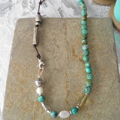 Green Turquoise, Sterling Silver, Leather and Pearl Necklace