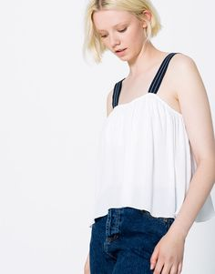 Pull&Bear - woman - clothing - blouses & shirts - strappy top - ice - 09470365-I2016