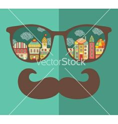 Retro sunglasses with reflection for hipster vector by ekapanova on VectorStock®