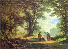 Jesus walking with two men on the road to Emmaus after His resurrection. Walk To Emmaus, Road To Emmaus, The Journey, Gospel Of Luke, Luke 24, Catholic Bible, Roman Catholic, Bible Pictures, Bible Images