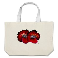 Hibiscus Eyes - Red & Black Bag   •   This design is available on t-shirts, hats, mugs, buttons, key chains and much more   •   Please check out our others designs at: www.zazzle.com/ZuzusFunHouse*