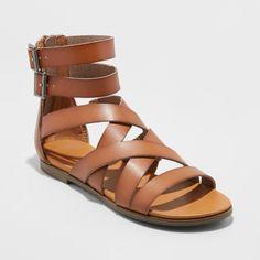 161949176402 Women s Rosalee Microsuede Wide Width Gladiator Sandals - Universal Thread  Cognac (Red) 8W