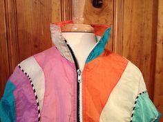 Vintage Multicolored Windbreaker by lovelydovelyone on Etsy