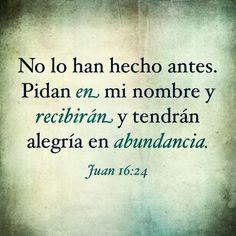 No lo han hecho antes. Pidan en mi nombre y recibirán y tendrán alegría en abundancia. (Juan 16:24 NTV)