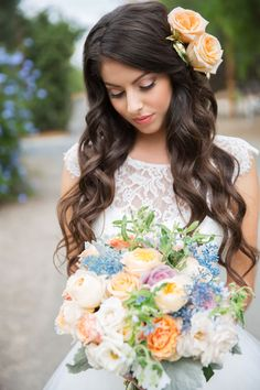 A garden glamour look for the bride and groom featuring Pantone Serenity by Chloe Atnip Photography