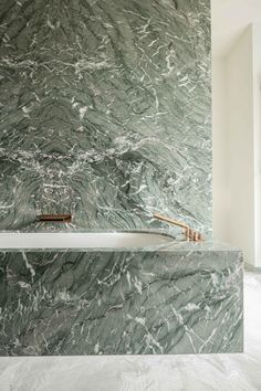 Green Marble Bathtub Surround and Wall