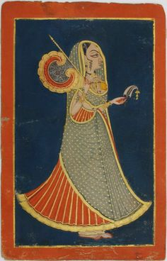 Indian Miniature Painting : Jodhpur princess with fan and royal pankha and sarpech circa Opaque watercolour with gold on wasli. Pichwai Paintings, Mughal Paintings, Indian Art Paintings, Rajasthani Painting, Rajasthani Art, Mughal Miniature Paintings, Indian Traditional Paintings, Indian Folk Art, Native Indian