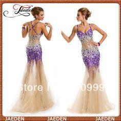 PP128 2014 Sexy Mermaid Prom Dress Fashion Stunning Crystals V-neck Spaghetti Strap Cross Back Formal Girl Party Dress Custom $179.89