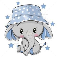 Cute Elephant in panama hat isolated on a white background. Cute Cartoon Elephant in panama hat isolated on a white background vector illustration Baby Elephant Drawing, Baby Animal Drawings, Cute Baby Elephant, Cute Cartoon Drawings, Cute Elephant Cartoon, Cute Baby Drawings, Baby Elephants, Image Elephant, Elephant Art
