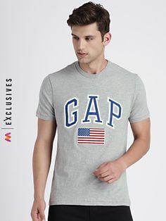 fe97b57ca8 GAP Men's Grey Flag And Logo Applique Cotton T-Shirt - | 1349 Latest Mens