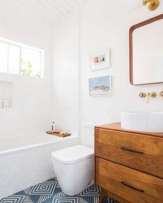 Shot @em_henderson guest bath ! the vintage dresser turned vanity is