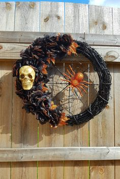 Check out this item in my Etsy shop https://www.etsy.com/listing/482818743/halloween-wreath-skull-wreath-spider