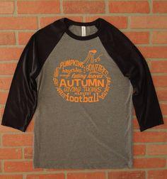 Pumpkin Word Art Raglan Three Quarter Sleeve Baseball T-Shirt/Wordy Pumpkin Shirt/Fall TShirt/Autumn T-Shirt/Halloween Shirt/Autumn Words