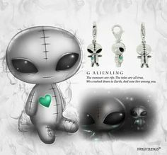 Give G Alienling some love, he's far away from home and feeling a lonely. He is made from solid sterling silver with a rhodium plated coating and hand painted enamel touches. He is available in a slide on and clip on version. Voodoo Doll Tattoo, Voodoo Dolls, Creepy Art, Creepy Dolls, Gothic Poems, Pomes, Beautiful Dark Art, Aliens And Ufos, Halloween Drawings