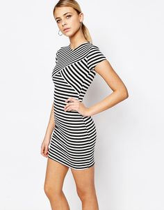 Image 1 of Boohoo Stripe Bodycon Mini Dress