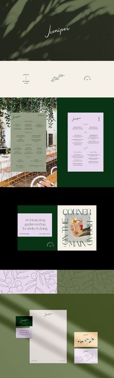 Juniper Hotel on Behance. A beautiful green and natural hotel branding, infused with natural luxury and line art botanicals. The brand, stationery, flyer and logo design embodies tuscan wellness vibes and holiday lifestyle. Juniper Restaurant, Restaurant Bar, Juniper Hotel, Hotel Branding, Restaurant Branding, Logo Branding, Corporate Branding, Layout Design, Menu Design