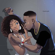 Ghanaians Have A Lot Of Feelings About This Simple Illustration By Poka Arts » Design You Trust Sexy Black Art, Black Love Art, Black Girl Art, Art Girl, Black Girl Cartoon, Dope Cartoon Art, Dope Cartoons, Black Couple Art, Black Couples