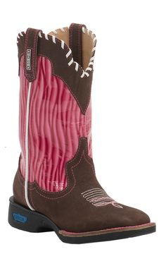Cinch Kid's Chocolate with Pink Wave Top Square Toe Western Boots